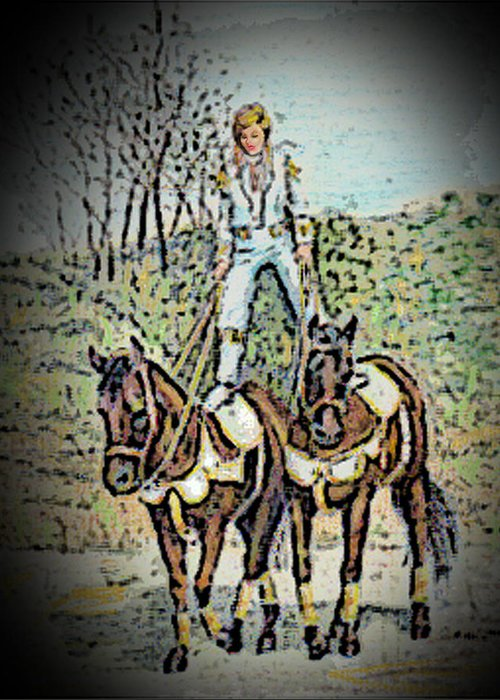 Horses Greeting Card featuring the pastel Roman Rider by Olga Kaczmar
