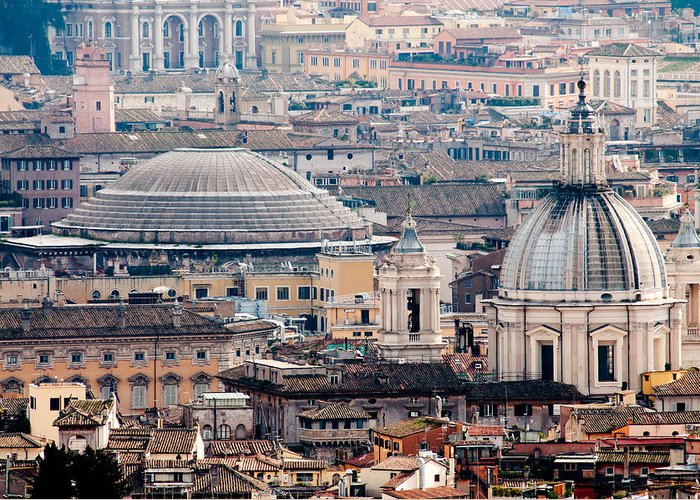 Pantheon Greeting Card featuring the photograph Roman Rooftops by Andy Smy