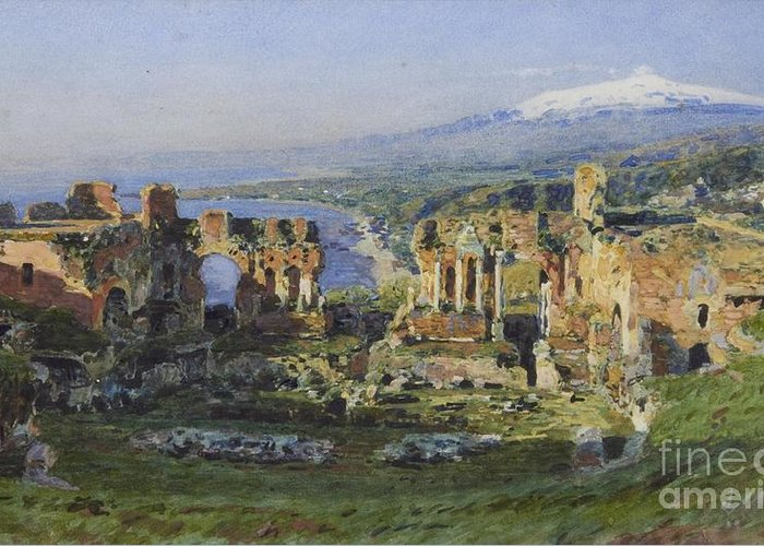Henry Wallis (attr) - Roman Theatre Greeting Card featuring the painting Roman Theatre by MotionAge Designs