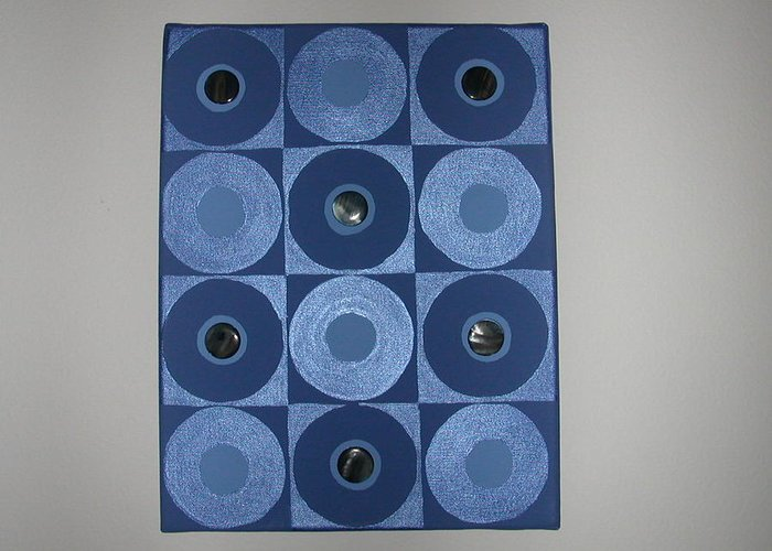 Gem Stones On Blue And Metallic Blue Circles Greeting Card featuring the painting Romancing The Blue Stone by Gay Dallek