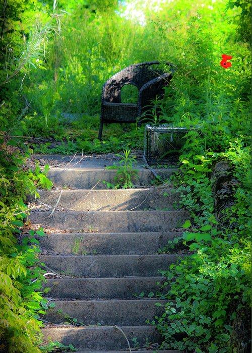 Garden Greeting Card featuring the photograph Romantic Garden Scene by Teresa Mucha