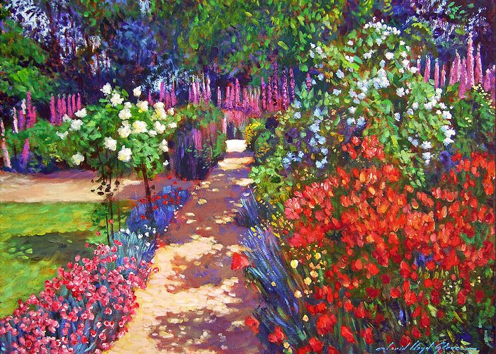 Impressionism Greeting Card featuring the painting Romantic Garden Walk by David Lloyd Glover
