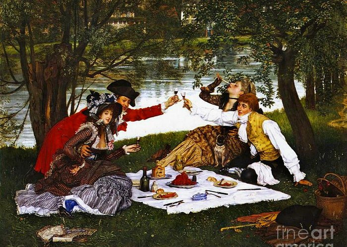 Romantic Picnic 1873 Greeting Card featuring the photograph Romantic Picnic 1873 by Padre Art