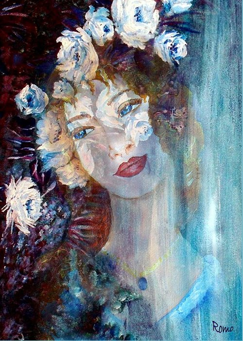 Face Greeting Card featuring the mixed media Romantic by Robin Monroe