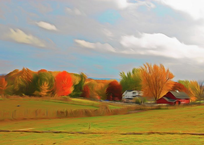 Country Greeting Card featuring the photograph Romantic Skies Autumn Farm by Aimee L Maher ALM GALLERY
