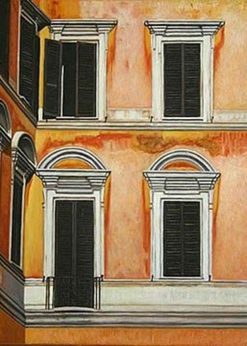 Architecture Greeting Card featuring the painting Rome-late Afternoon by Stephen Degan
