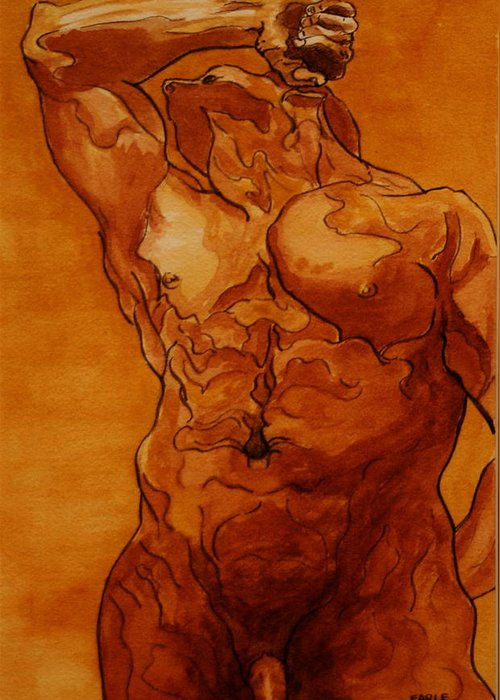 Male Nude Greeting Card featuring the painting Rome Series Vi by Dan Earle