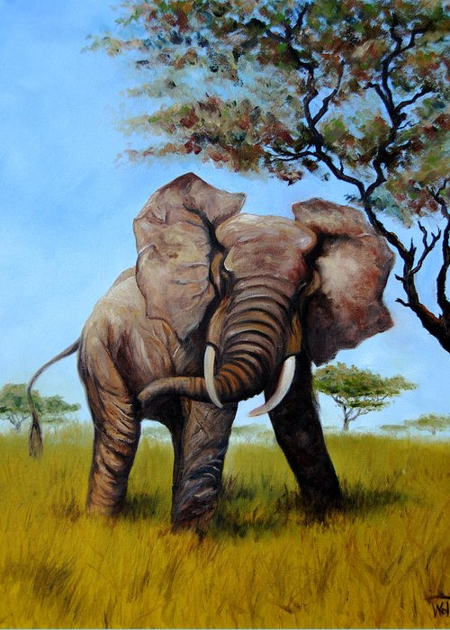Elephant Greeting Card featuring the painting Rommel by Thea Wolff