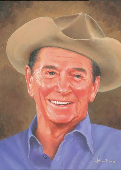 Ronald Greeting Card featuring the painting Ronald Reagan by Steven Braatz