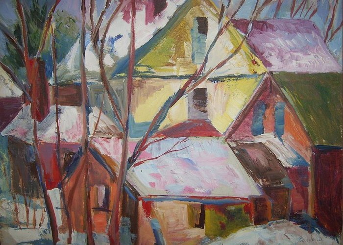 Acrylic Landscape Houses Rooftops Bright Snow Greeting Card featuring the painting Roof Tops R by Joseph Sandora Jr
