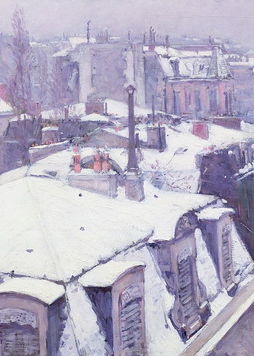 Snow Greeting Card featuring the painting Roofs Under Snow by Gustave Caillebotte