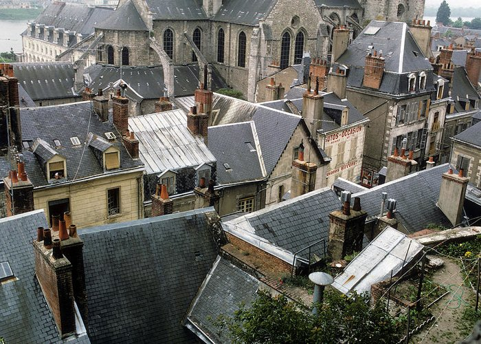 Rooftops Greeting Card featuring the photograph Rooftops Of Blois In France 3 by Carl Purcell