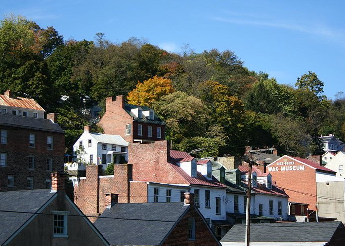 Roofs Greeting Card featuring the photograph Rooftops Of Harpers Ferry by Rebecca Smith