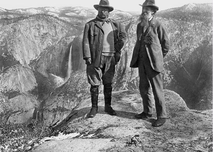 1906 Greeting Card featuring the photograph Roosevelt & Muir by Granger