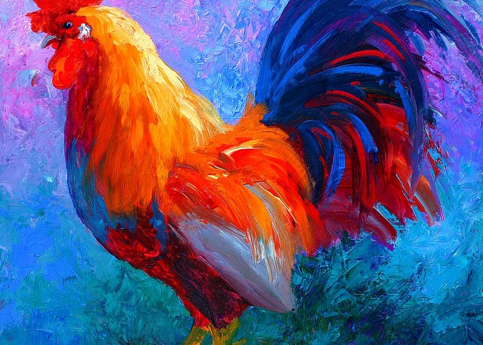 Rooster Greeting Card featuring the painting Rooster Bob by Marion Rose