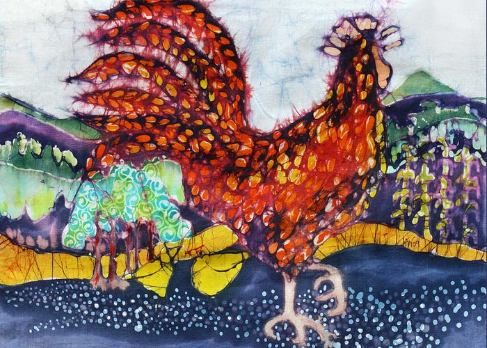 Farm Greeting Card featuring the tapestry - textile Rooster In The Morning by Carol Law Conklin