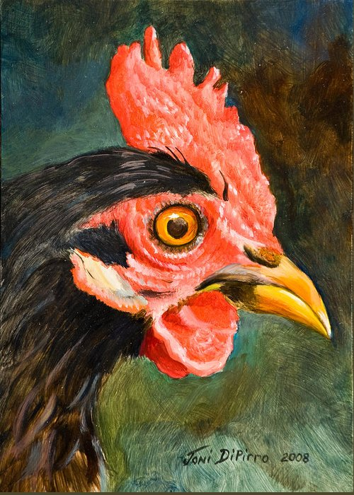 Rooster Greeting Card featuring the painting Rooster by Joni Dipirro