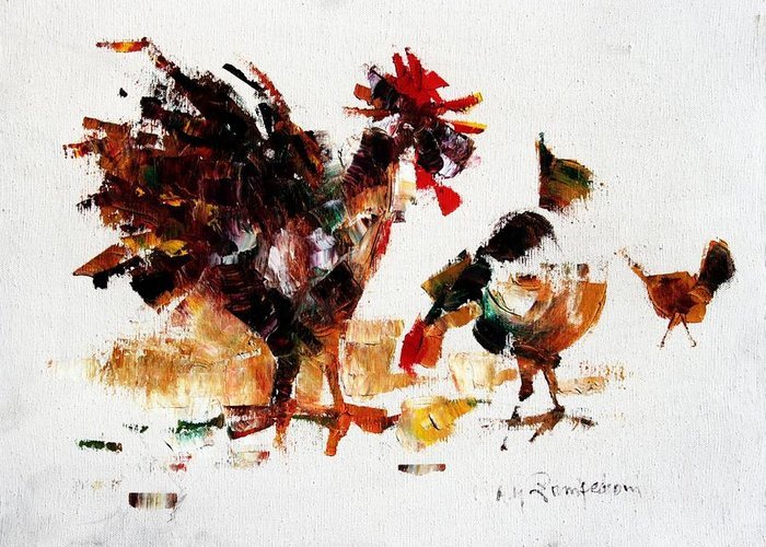 Rooster Greeting Card featuring the painting Rooster by Mario Zampedroni