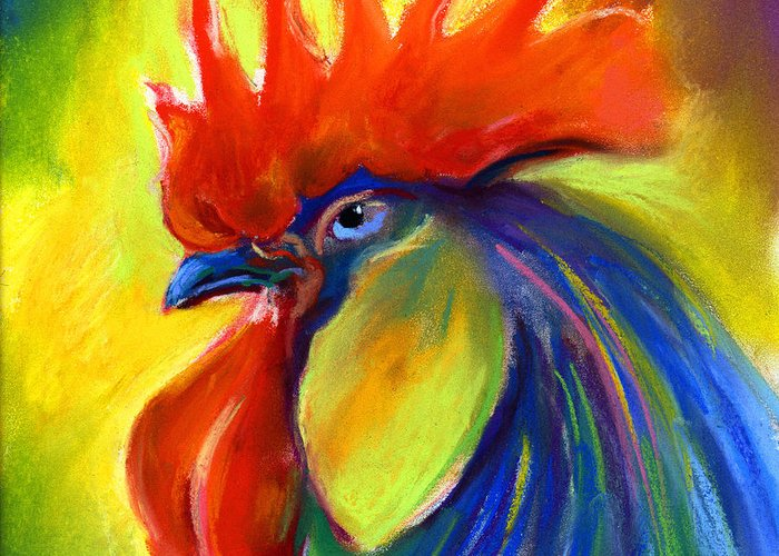 Rooster Greeting Card featuring the painting Rooster Painting by Svetlana Novikova