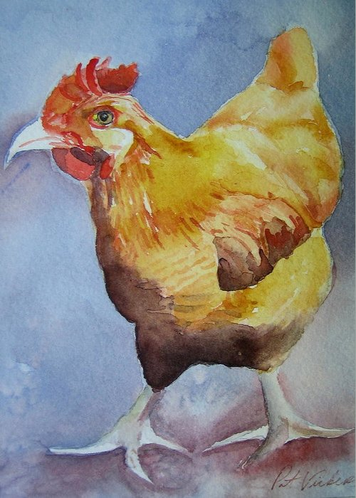 Rooster Greeting Card featuring the painting Rooster by Pat Vickers