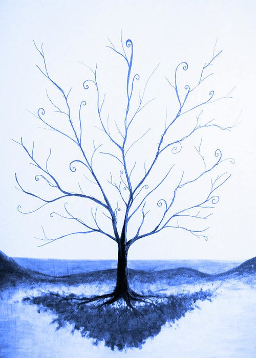 Tree Greeting Card featuring the painting Roots Of A Tree In Blue by Emily Perry
