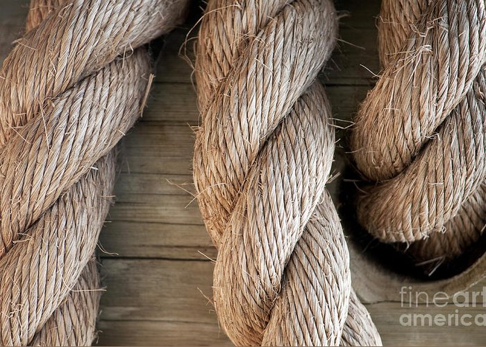 Rope Greeting Card featuring the photograph Rope In A Hole by Dan Holm