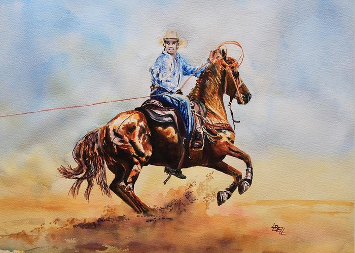 Cowboy Greeting Card featuring the mixed media Roping Action by Leonie Bell