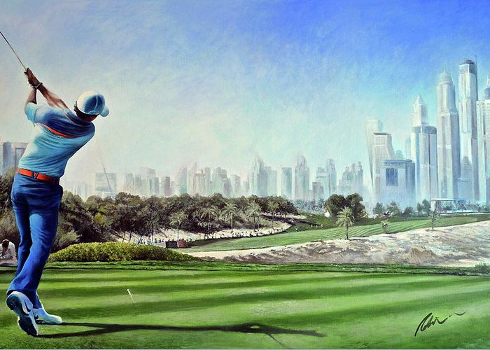Rory Mcilroy Greeting Card featuring the painting Rory At Ddc Emirates Gc Dubai 8th 2014 by Mark Robinson