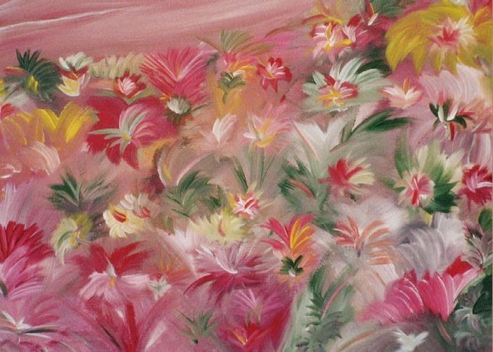 Flowers Greeting Card featuring the painting Rosa Bluetenmeer by Michael Puya