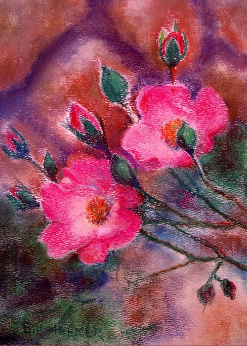 Floral Greeting Card featuring the painting Rosa Chuckles Duo by Bill Meeker
