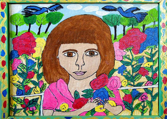 Rose Flowers Child Birds Greeting Card featuring the painting Rose by Betty Roberts