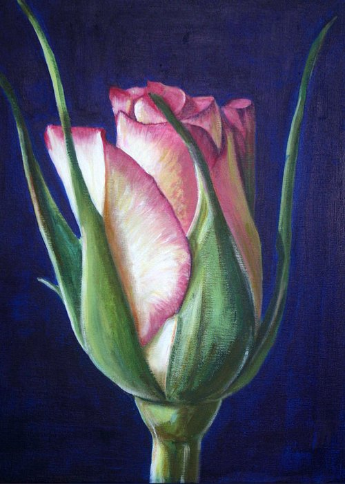 Rose Greeting Card featuring the painting Rose Bud by Fiona Jack