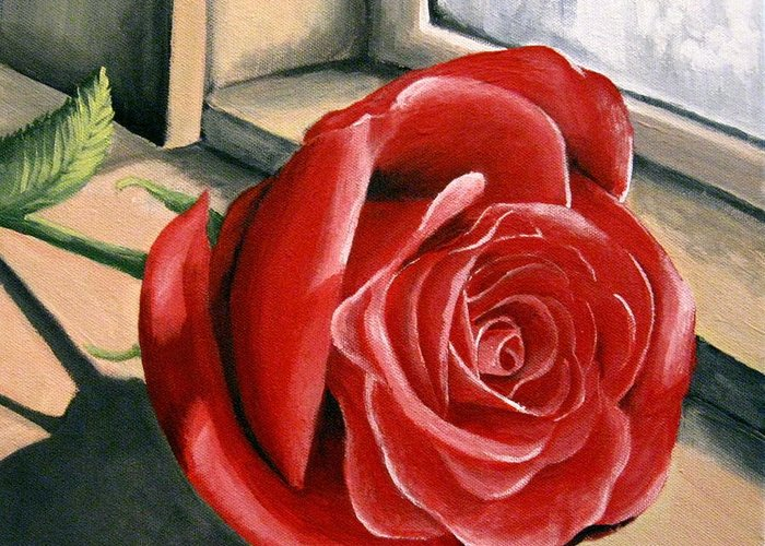 Rose Greeting Card featuring the painting Rose By A Window by Sharon Marcella Marston