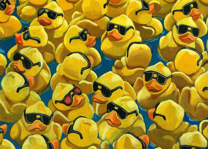 Rubber Duck Greeting Card featuring the painting Rose Colored Glasses by Linda Apple
