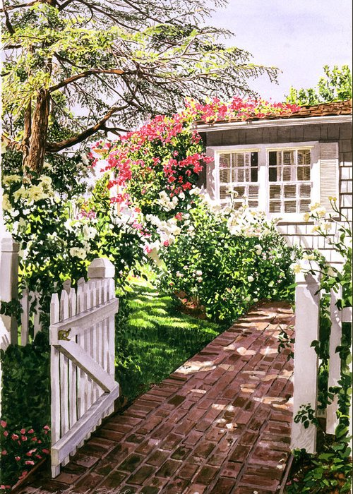 Gardens Greeting Card featuring the painting Rose Cottage Gate by David Lloyd Glover