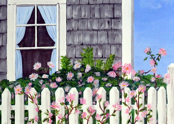 Cottage Greeting Card featuring the painting Rose Cottage by Nancy Sisco