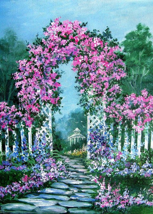 Roses;floral;garden;picket Fence;arch;trellis;garden Walk;flower Garden; Greeting Card featuring the painting Rose-covered Trellis by Lois Mountz