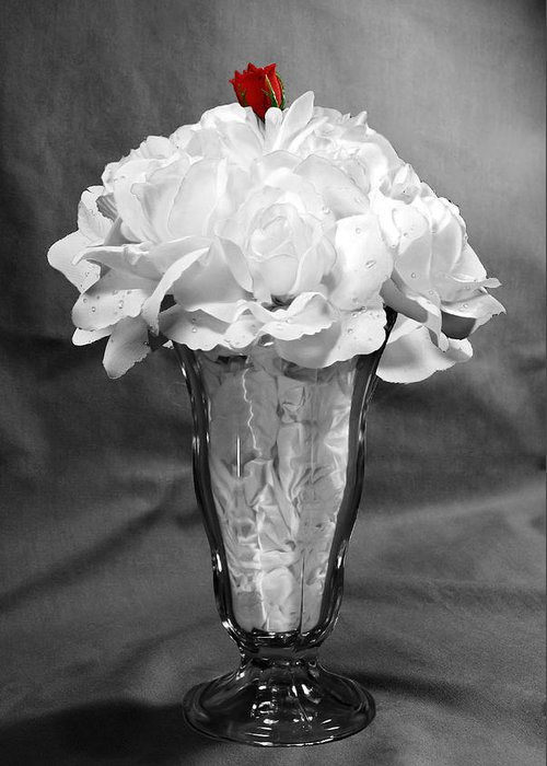 Float Greeting Card featuring the photograph Rose Float Bw by Francesa Miller