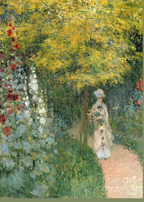 Rose Greeting Card featuring the painting Rose Garden by Claude Monet