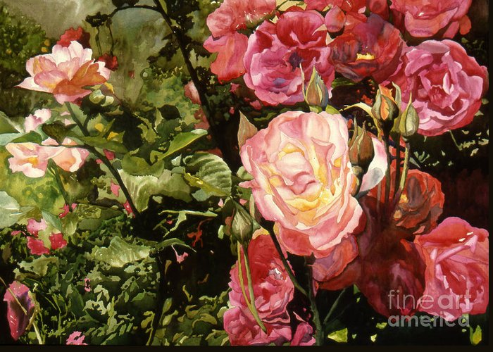 Watercolor Greeting Card featuring the painting Rose Garden by Teri Starkweather