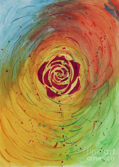 Abstract Greeting Card featuring the painting Rose In Vorteks by Tui Sada