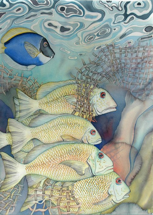 Sealife Greeting Card featuring the painting Rose Island II by Liduine Bekman