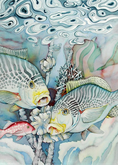 Fish Greeting Card featuring the painting Rose Island IIi by Liduine Bekman