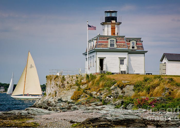Bay Greeting Card featuring the photograph Rose Island Light by Susan Cole Kelly