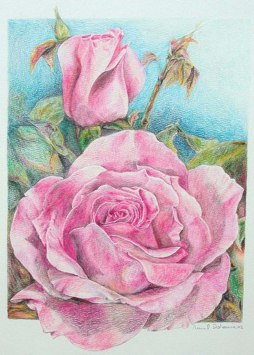 Flower Greeting Card featuring the painting Rose by Muriel Dolemieux