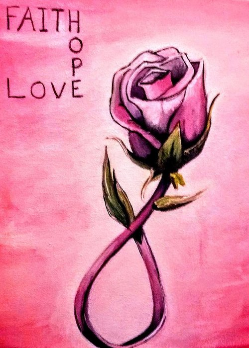 Breast Cancer Greeting Card featuring the painting Rose Of Hope by Jessica Mincy