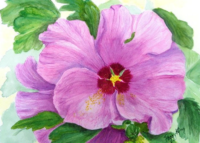 Watercolour Greeting Card featuring the painting Rose Of Sharon by Peggy King