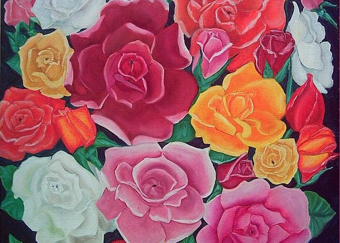 Rose Greeting Card featuring the painting Rose Reunion by Kathern Ware