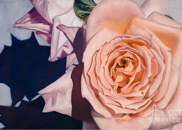 Roses Greeting Card featuring the painting Rose Splendour by Kerryn Madsen-Pietsch