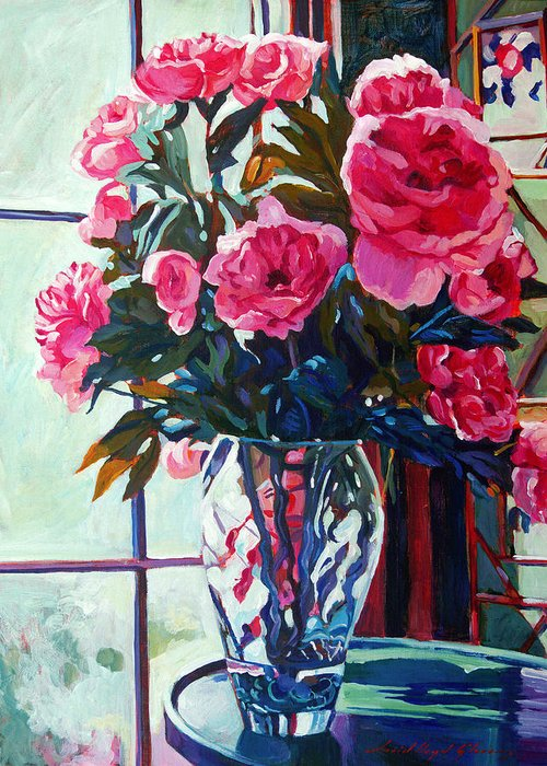 Still Life Greeting Card featuring the painting Rose Symphony by David Lloyd Glover